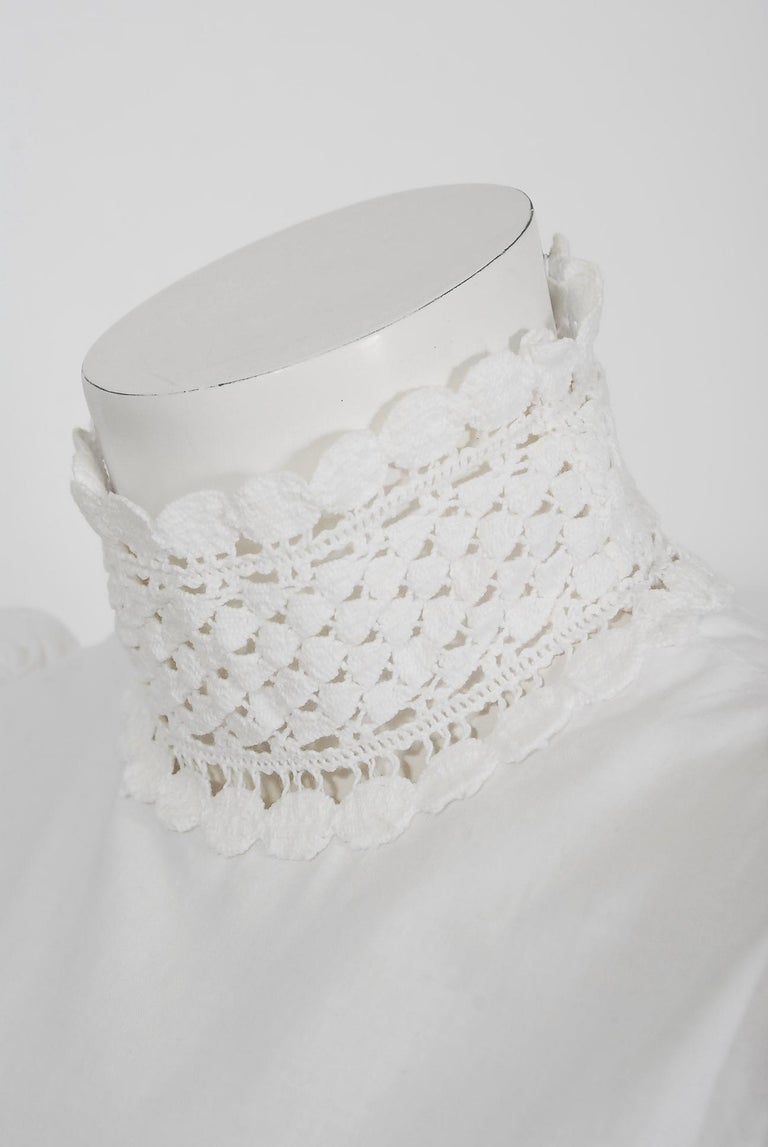 Vintage 1969 Biba Documented White Cotton Lace Billow-Sleeve Maxi Dress & Jacket For Sale 3