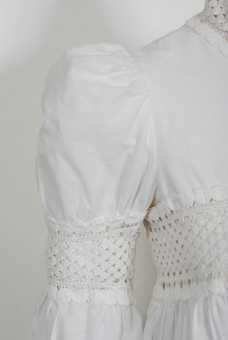 Vintage 1969 Biba Documented White Cotton Lace Billow-Sleeve Maxi Dress & Jacket For Sale 4