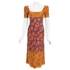 1969 Biba London Purple & Marigold Deco Floral Print Jersey Low-Plunge Dress