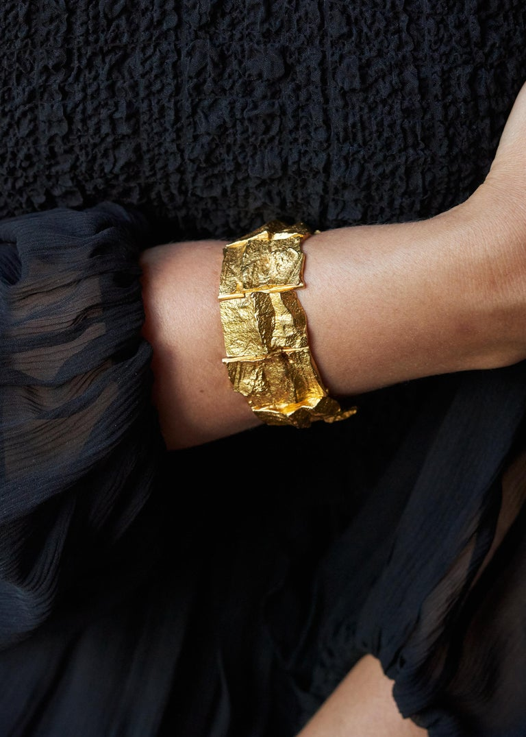 An 18 karat gold bracelet, by Finnish master jeweler, sculptor and designer Björn Weckstrom for Lapponia, 1969.  This bracelet is a rare find in 18 karat gold as many of Weckstrom's designs, both independently and for Lapponia, were modeled in 14