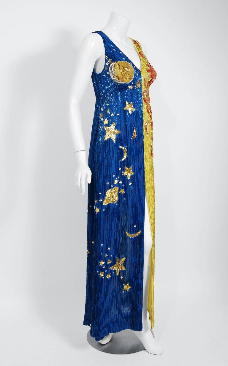 Breathtaking Boyd Clopton Couture celestial sun and moon novelty gown dating back to the late 1960's. Boyd Clopton was an acclaimed costume designer during the 1960's and 1970's, dressing some of the top musical groups and soloists of the era.  He