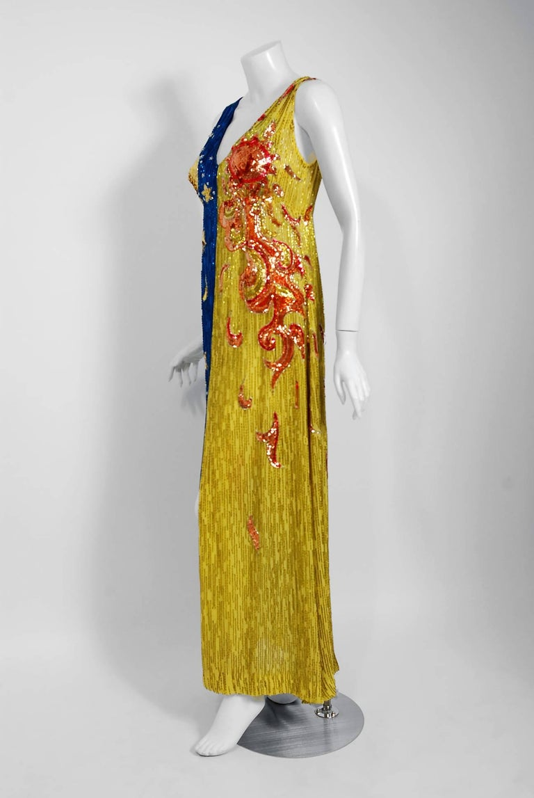 1969 Boyd Clopton Couture Celestial Sun & Moon Beaded Sequin High-Slit Gown  For Sale 2