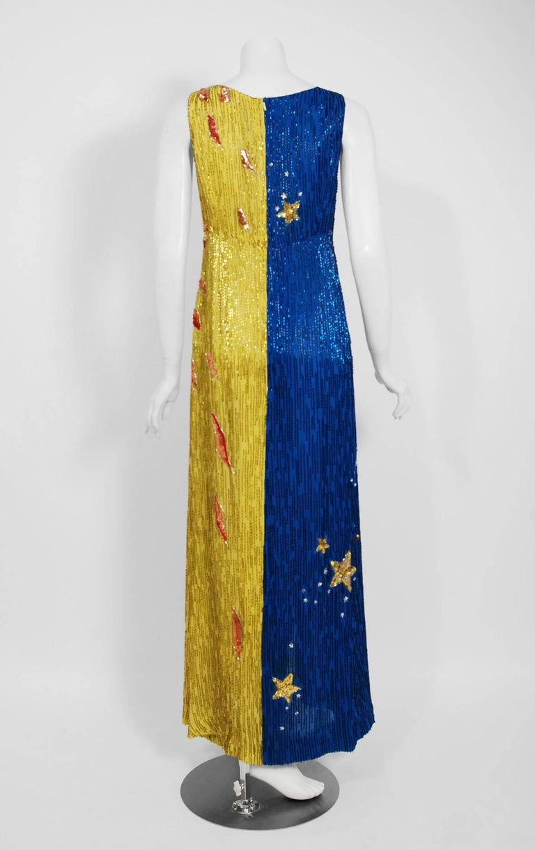 1969 Boyd Clopton Couture Celestial Sun & Moon Beaded Sequin High-Slit Gown  For Sale 4