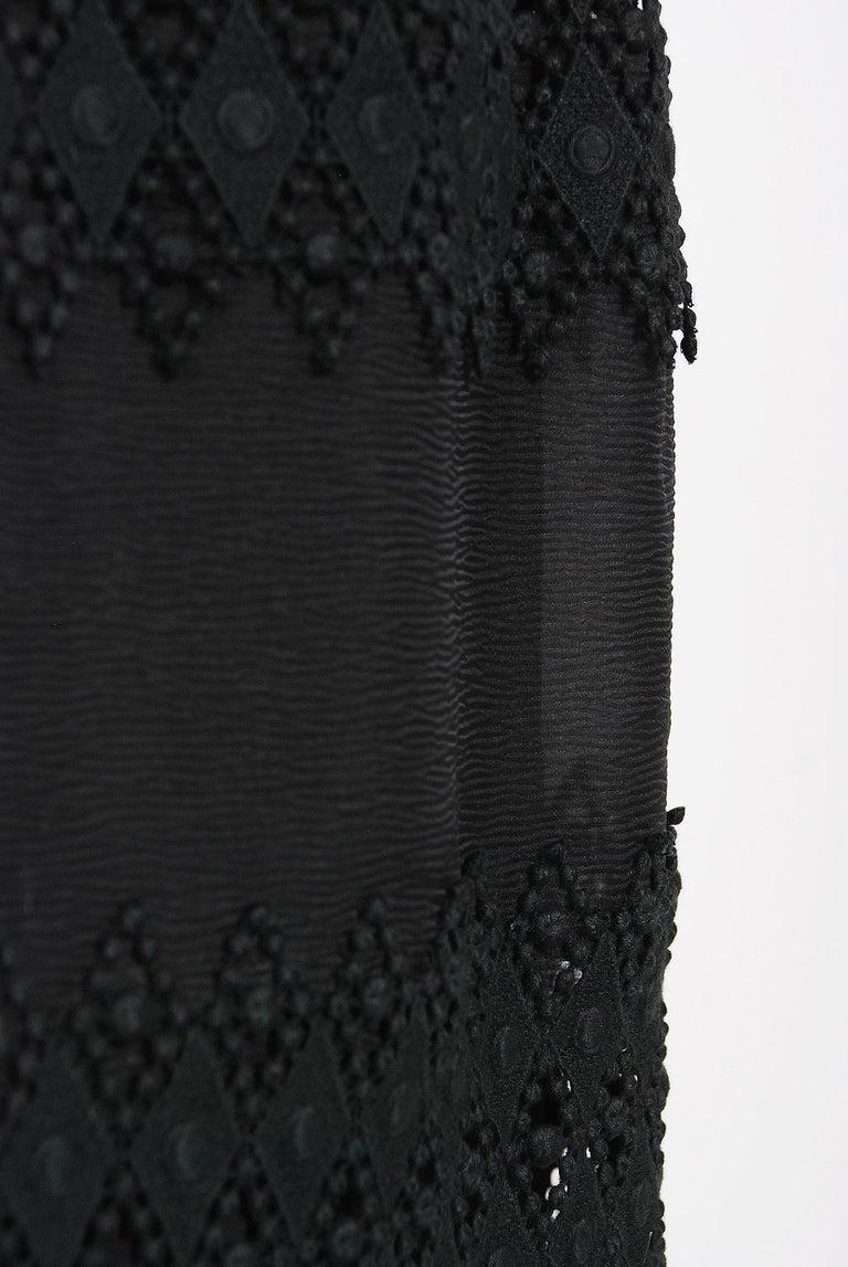 Vintage 1969 Christian Dior For Saks Black Lace & Silk Strapless Bow Mini Dress  For Sale 1