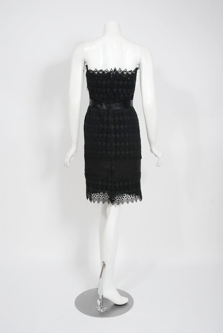 Vintage 1969 Christian Dior For Saks Black Lace & Silk Strapless Bow Mini Dress  For Sale 2