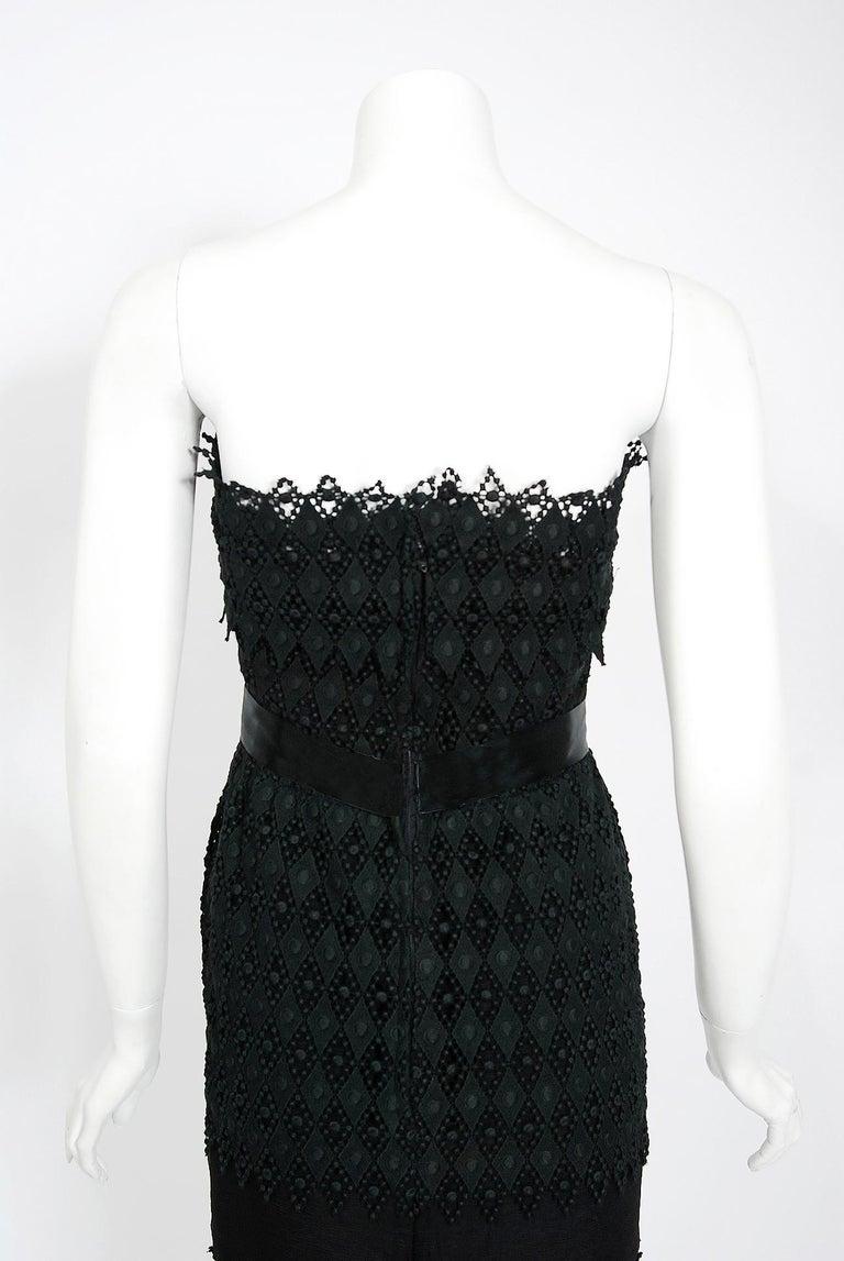 Vintage 1969 Christian Dior For Saks Black Lace & Silk Strapless Bow Mini Dress  For Sale 3