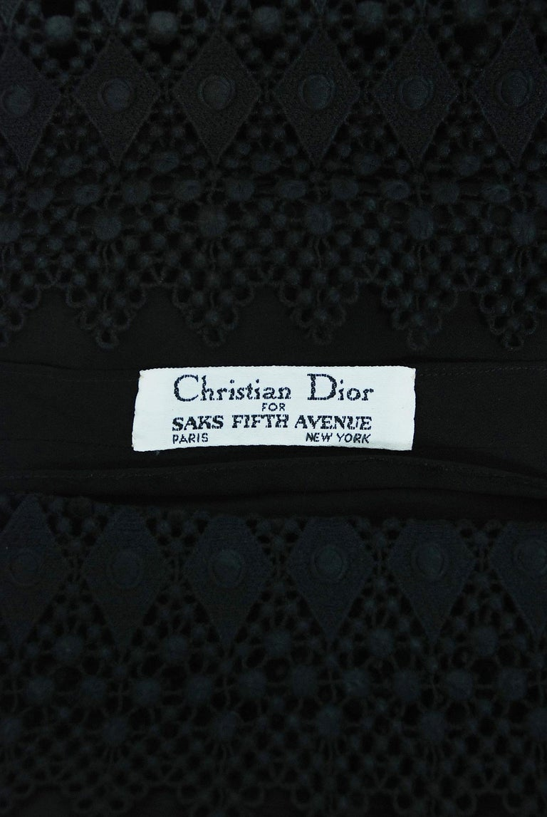 Vintage 1969 Christian Dior For Saks Black Lace & Silk Strapless Bow Mini Dress  For Sale 4