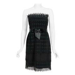 1969 Christian Dior For Saks Black Lace & Silk Strapless Bow-Sash Mini Dress
