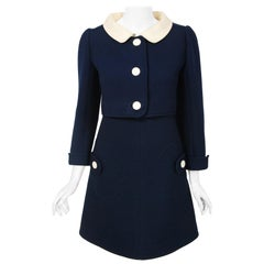 1969 Courreges Couture Navy-Blue & Creme Wool Mod Space-Age Dress & Jacket