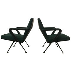 1969 Friso Kramer, Ahrend de Cirkel Repose Lounge Armchair Green Upholstery