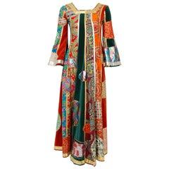 1969 Giorgio Sant' Angelo Documented Colorful Patchwork Klimt Bohemian Dress