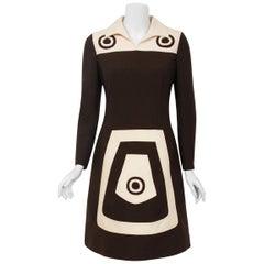 1969 Louis Feraud Couture Brown & Creme Wool Op-Art Mod Target Long-Sleeve Dress