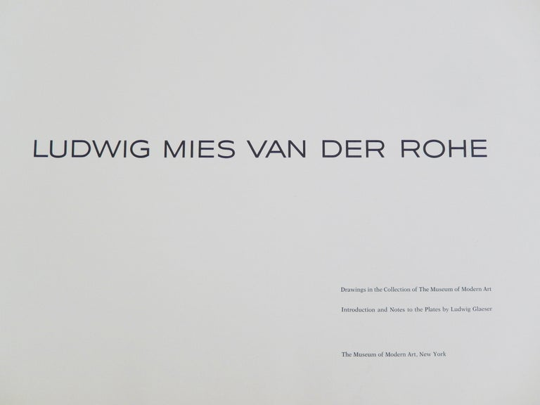 Ludwig Mies van der Rohe: Drawings in the Collection of the Museum of Modern Art by Ludwig Glaeser, a important, out-of-print spiral bound folio with original plates of architectural sketches. This large, oblong book consists of 31 plates in color