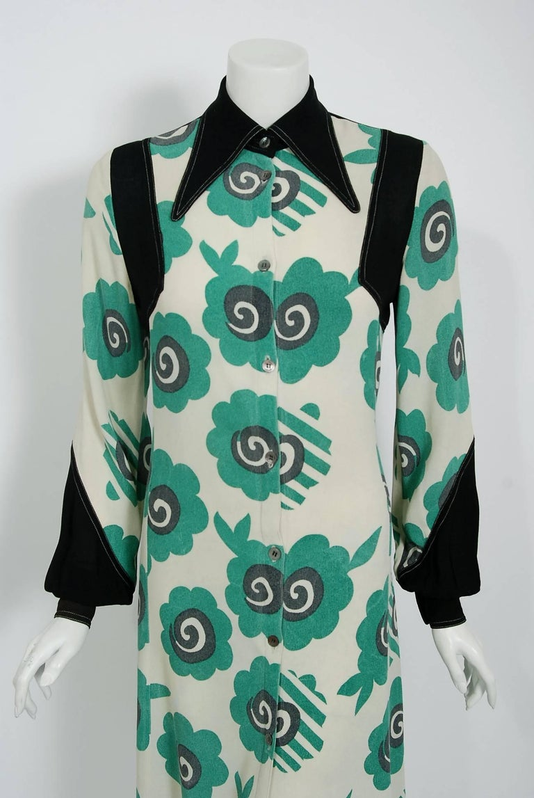 Sensational Ossie Clark 'Candy Flower' print documented dress dating back to his 1969 collection. English fashion designer, Raymond Ossie Clark, was a leading light in the London