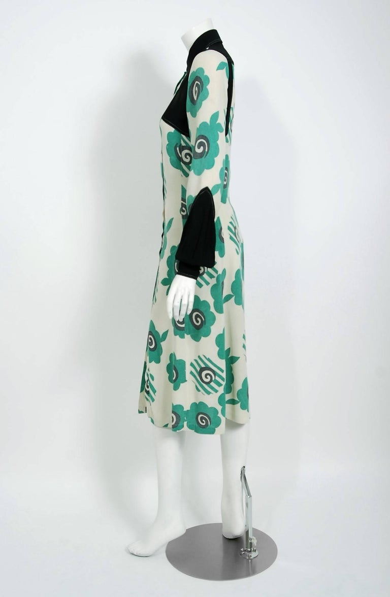 Women's 1969 Ossie Clark Candy Flower Celia Birtwell Print Crepe Billow-Sleeve Dress For Sale