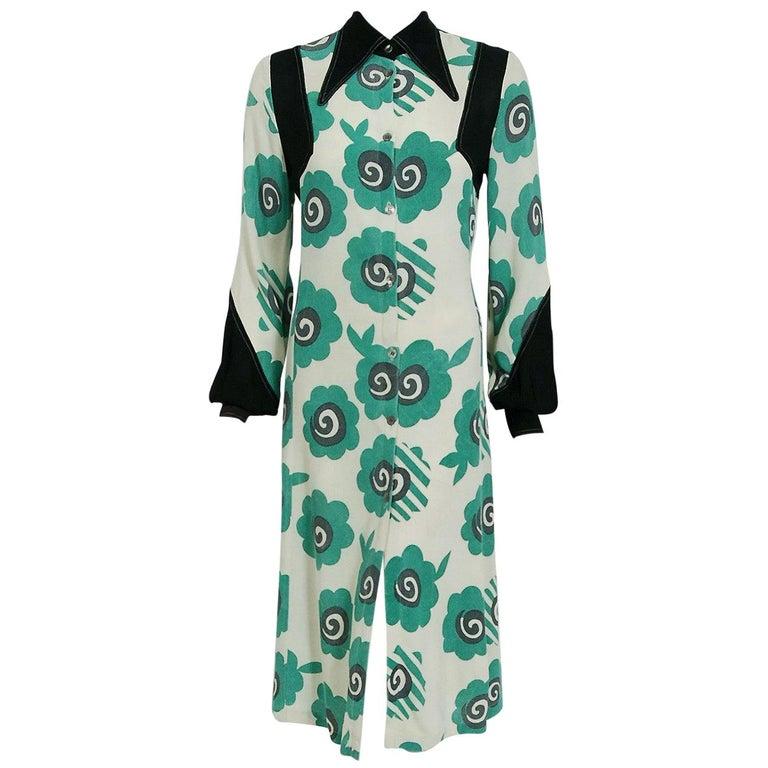 1969 Ossie Clark Candy Flower Celia Birtwell Print Crepe Billow-Sleeve Dress For Sale