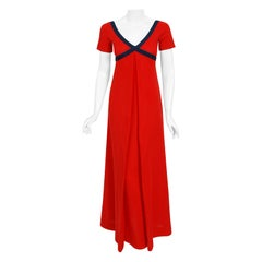 1969 Rudi Gernreich Iconic Cross Your Heart Empire Red and Navy Knit Maxi Dress