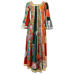 1969 Sant' Angelo Documented Colorful Patchwork Klimt Bohemian Maxi Dress