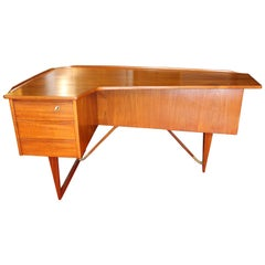 1969 Teak Danish Boomerang Desk by Peter Løvig Nielsen Draws Cabinet Bar Keys
