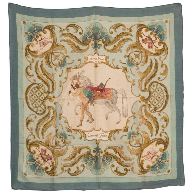 e59ef26ecd6 1969s Hermes Cheval Turc Cashmere Silk Scarf For Sale at 1stdibs