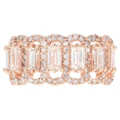 1.97 Carat Baguette and Round Cut Diamond Band 14 Karat Rose Gold