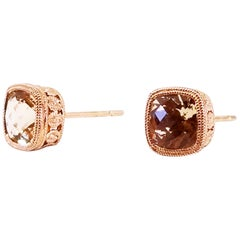 1.97 Carat Cushion Champagne Morganite Bezel Stud Earrings Rose Gold