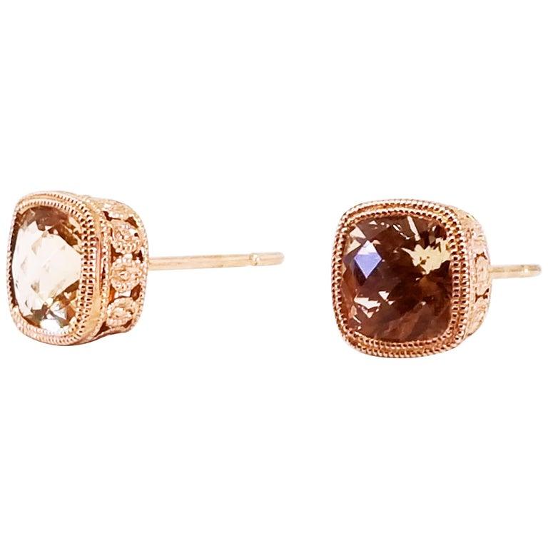 dd03f2dbc23 1.97 Carat Cushion Champagne Morganite Bezel Stud Earrings Rose Gold