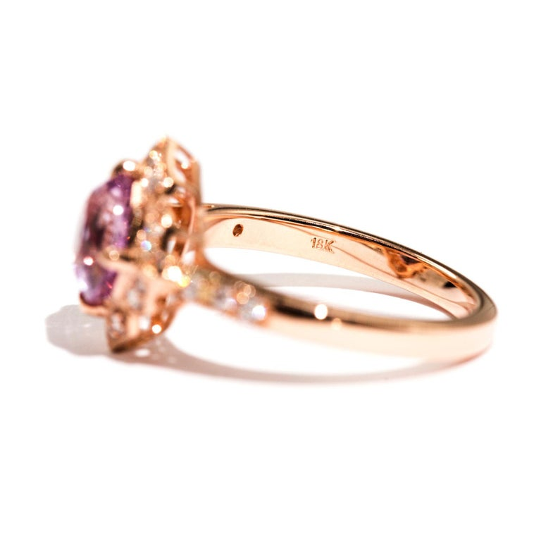 1.97 Carat Cushion Cut Pink Spinel and Diamond 18 Carat Rose Gold Halo Ring For Sale 5