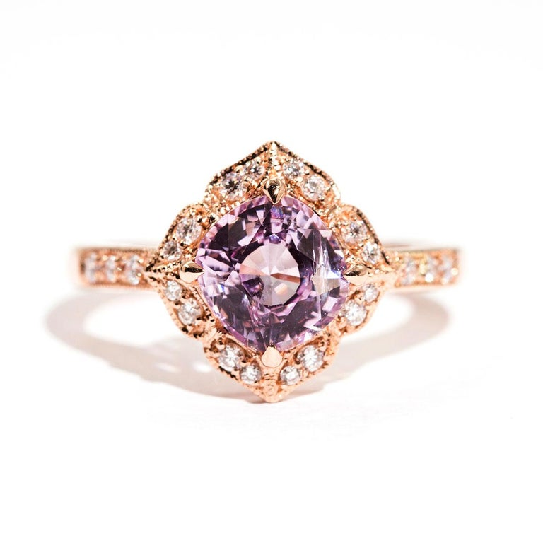 1.97 Carat Cushion Cut Pink Spinel and Diamond 18 Carat Rose Gold Halo Ring For Sale 7