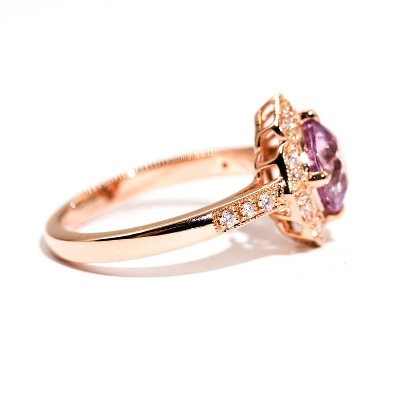 Contemporary 1.97 Carat Cushion Cut Pink Spinel and Diamond 18 Carat Rose Gold Halo Ring For Sale