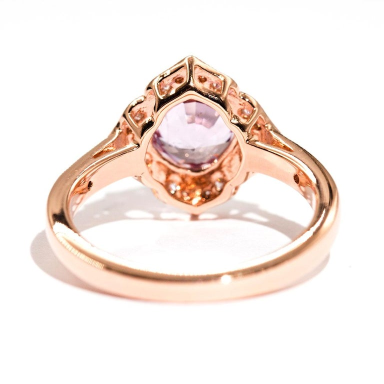 Women's 1.97 Carat Cushion Cut Pink Spinel and Diamond 18 Carat Rose Gold Halo Ring For Sale