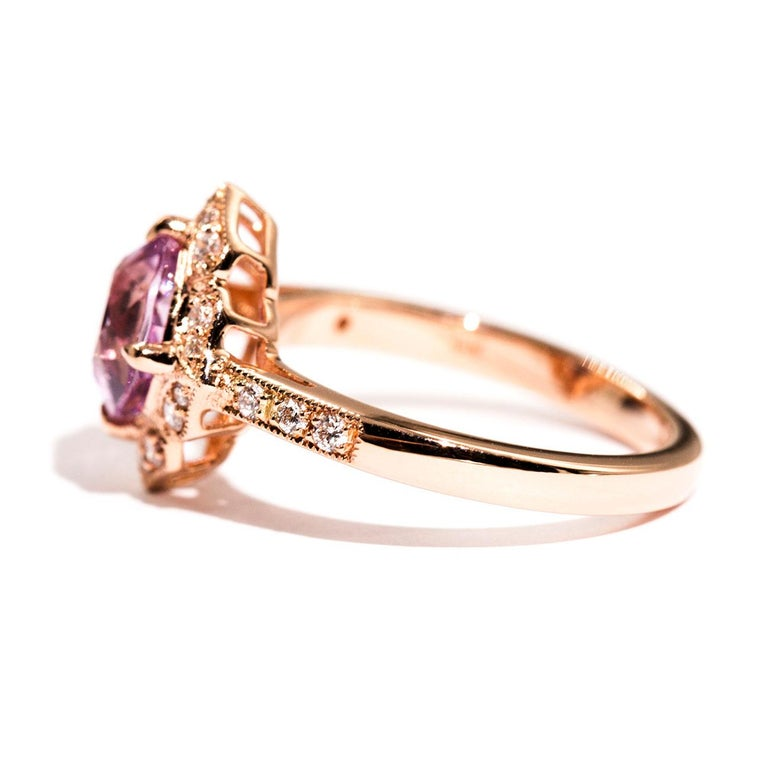1.97 Carat Cushion Cut Pink Spinel and Diamond 18 Carat Rose Gold Halo Ring For Sale 1
