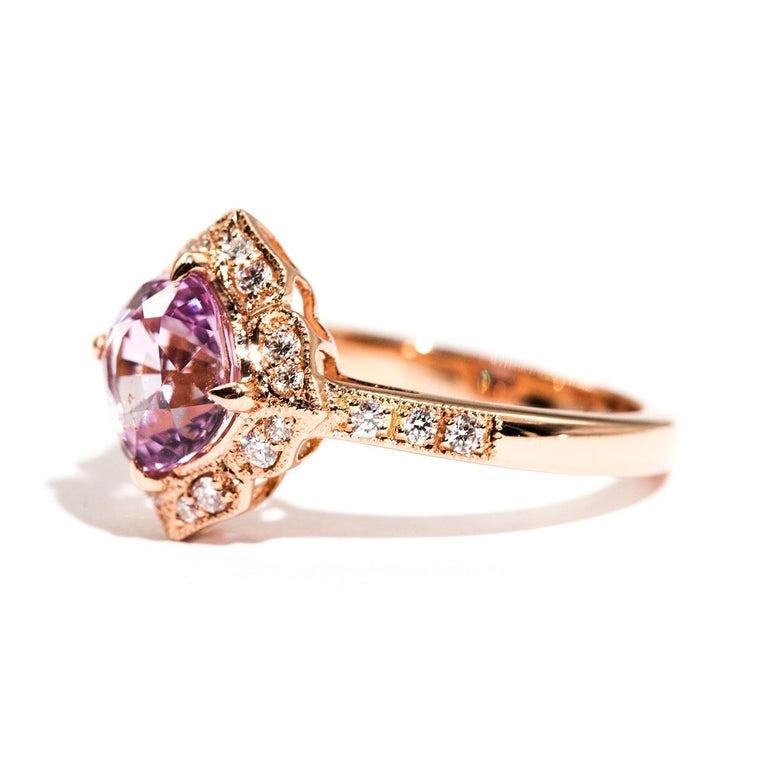 1.97 Carat Cushion Cut Pink Spinel and Diamond 18 Carat Rose Gold Halo Ring For Sale 4