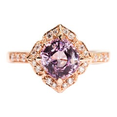1.97 Carat Cushion Cut Pink Spinel and Diamond 18 Carat Rose Gold Halo Ring