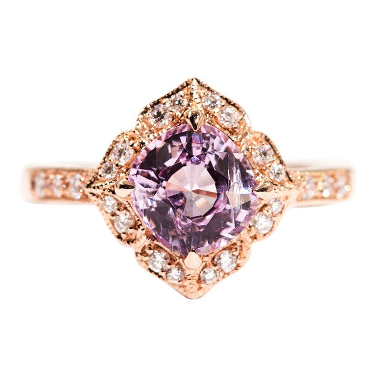 1.97 Carat Cushion Cut Pink Spinel and Diamond 18 Carat Rose Gold Halo Ring For Sale