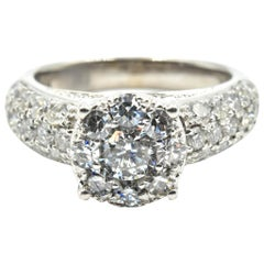 1.97 Carat Diamond Cluster Engagement Ring 14 Karat White Gold
