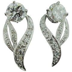 1.97 Carat Diamond Earrings in a Ribbon-Drop Design in 14 Karat White Gold