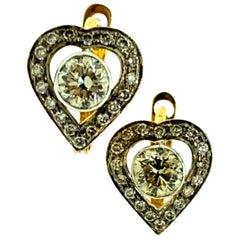 1.97 Carat Diamond Huggie Earring in 18 Karat Gold and Silver