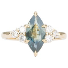 1.97 Carat Marquise Blue Green Sapphire 14 Karat Yellow Gold Ring AD1844-2