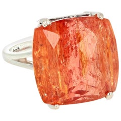 19.7 Carat Natural Imperial Brazilian Topaz Sterling Silver Ring