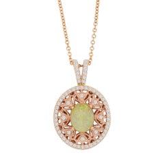 1.97 Carat Opal and 0.58 Carat White Diamond Pendant
