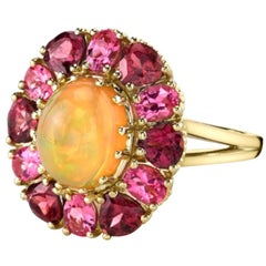 1.97 Carat Opal, Pink Spinel and Rose Garnet 18k Yellow Gold Halo Cocktail Ring