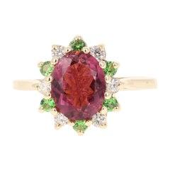 1.97 Carat Pink Tourmaline Tsavorite Diamond 14 Karat Yellow Gold Ring