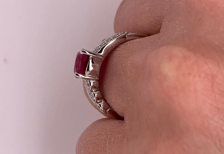 1.97 Carat Ruby Engagement Ring with Swirl Diamond Band In New Condition For Sale In GREAT NECK, NY