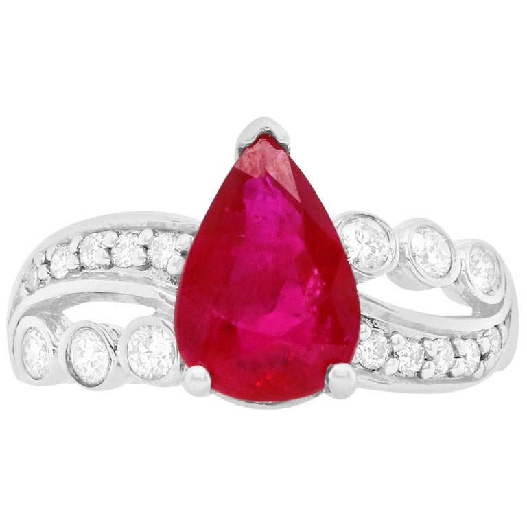 1.97 Carat Ruby Engagement Ring with Swirl Diamond Band For Sale