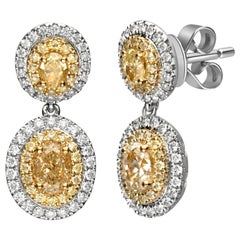 1.97 Carat T.W. Yellow Diamond 18 Karat Two-Tone Gold Earrings