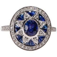 Art Deco Inspired New 1.97 Carat Sapphire 0.32 Carat Diamond 18K White Gold Ring