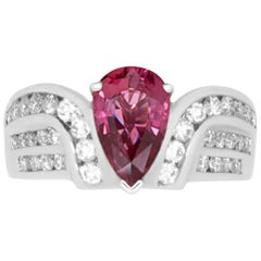 1.97 Pear Shaped Pink Ruby and 0.90 Carat Diamond Ring