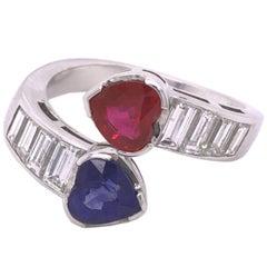 1970 1.01Kt Ruby 1.19Kt Sapphire Heart 1.18Kt Diamond Baguette Toi Moi Ring