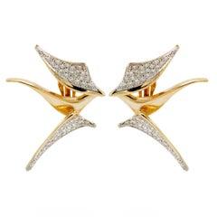 14 Karat Yellow Gold and Diamond Psychedelic Earrings, 1970